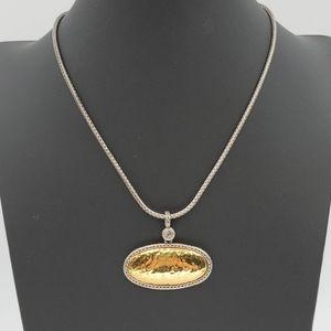 Premier Designs Gold & Silver Hammered Necklace